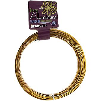Aluminum Wire Flat Diamond Cut 1X3mm 12 Meters/Pkg (39.25')-Gold ALFC3-GL