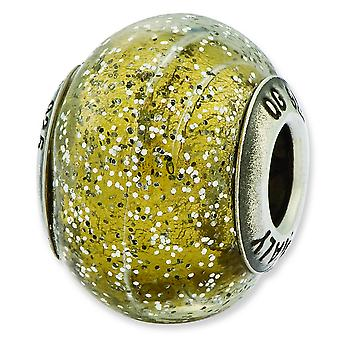 Sterling Silver Reflections Italian Olive With Silver Glitter Glass Bead Charm