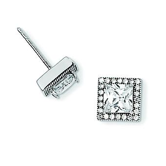 Sterling Silver and CZ Brilliant Embers Square Post Earrings