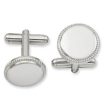Rhodium-plated Polished Beaded Round Cuff Links