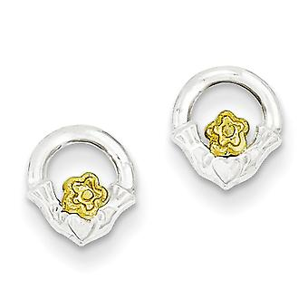 Sterling Silver and Vermeil Claddagh Mini Children Earrings - .5 Grams