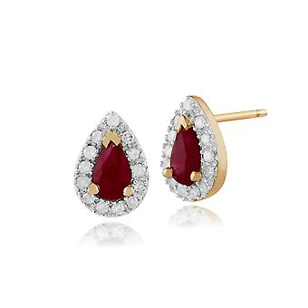 9ct Yellow Gold 0.45ct Ruby & Diamond Pear Cluster Stud Earrings