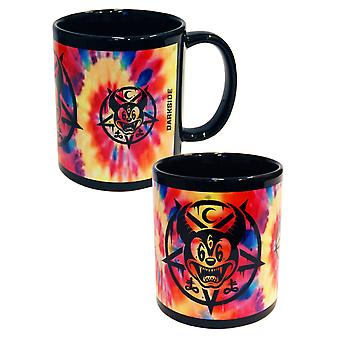 Darkside Clothing Tie Dye Mickey 666 Mug Cup Occult Pentagram Symbol Multiclour