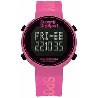 Superdry Unisex Digi Pedometer Pink Silicone Strap SYL203P Watch