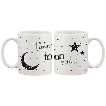 I Love You to the Moon and Back Couple Mugs - His and Hers Matching Coffee Mug Cup Set - Perfect Valentines Day Gift