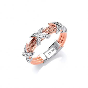 Cavendish French Silver and CZ Rose Gold Kiss Ring