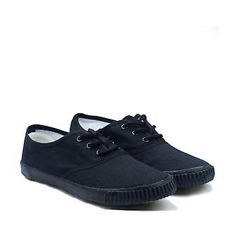 Mirak 6061 Mens Mono Black Lace Plimsolls Textile Rubber Lace Up Fastening Shoes