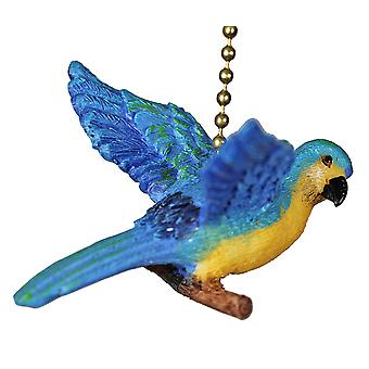 Tropical Island Parrot Macaw Resin Fan Light Pull