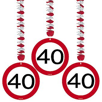 Spiral Garland 3 St. traffic sign number 40 birthday rotor spirals