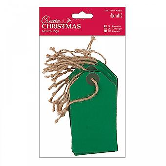 DoCrafts Create Christmas Green Kraft Tags