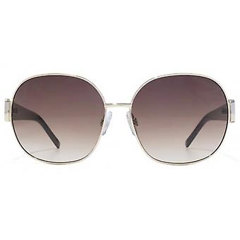 Carvela Metal Round With Plastic Temple Sunglasses In Gold Black