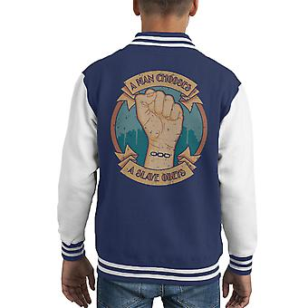 A Man Chooses A Slave Obeys Bioshock Kid's Varsity Jacket