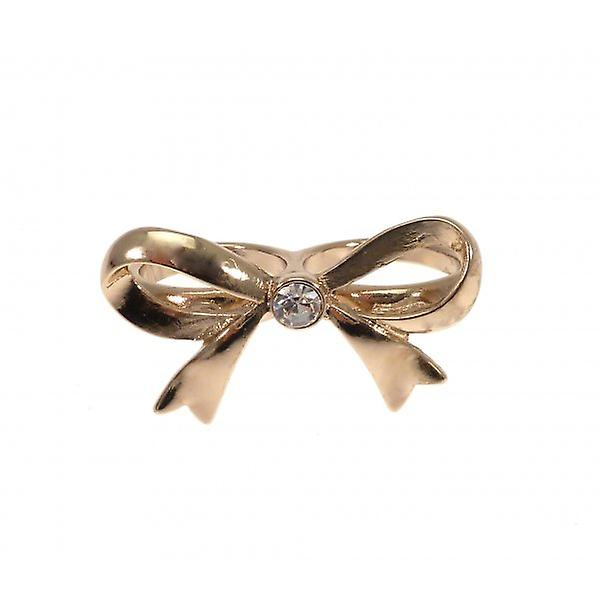 W.A.T Gold Style Double Finger Bow Ring With Small Crystal