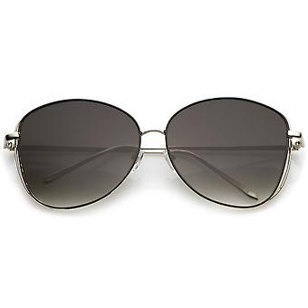 Classic Open Metal Oversize Sunglasses With Slim Arms And Round Flat Lens 62mm