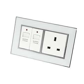 I LumoS AS Luxury White Mirror Glass Double USB + Unswitched Wall Plug 13A UK Sockets