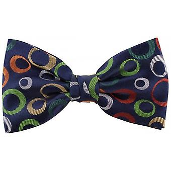 Knightsbridge Neckwear Circles Silk Bow Tie - Navy/Green/Orange
