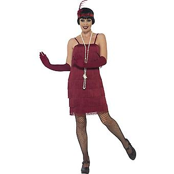 Smiffys Flapper Costume Burgundy Red With Short Dress Headband & Gloves (Costumes)