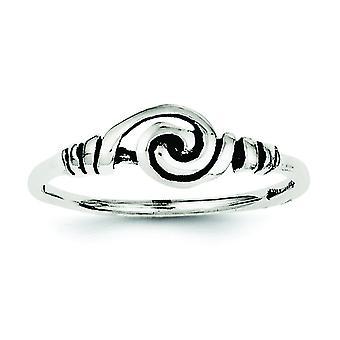 Sterlingsilber Solid Antique finish Antik Swirl Ring - Ring-Größe: 6 bis 8