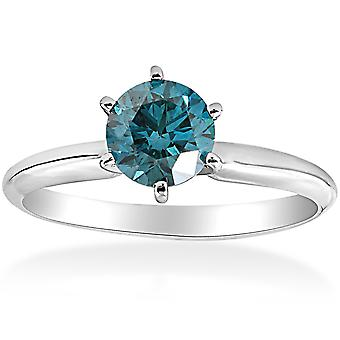 1 1/2ct Blue Diamond Solitaire Engagement Ring 14K White Gold