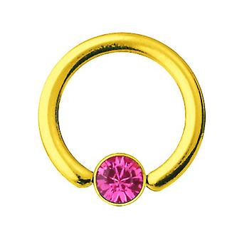 Smiley-Piercing BCR Gold vergoldet Titan 1,2 mm, SWAROVSKI Elemente rosa | 6-10 mm