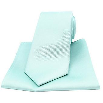 David Van Hagen Diagonal Ribbed Plain Tie and Pocket Square Set - Cyan Green