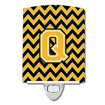 Letter Q Chevron Black and Gold Ceramic Night Light