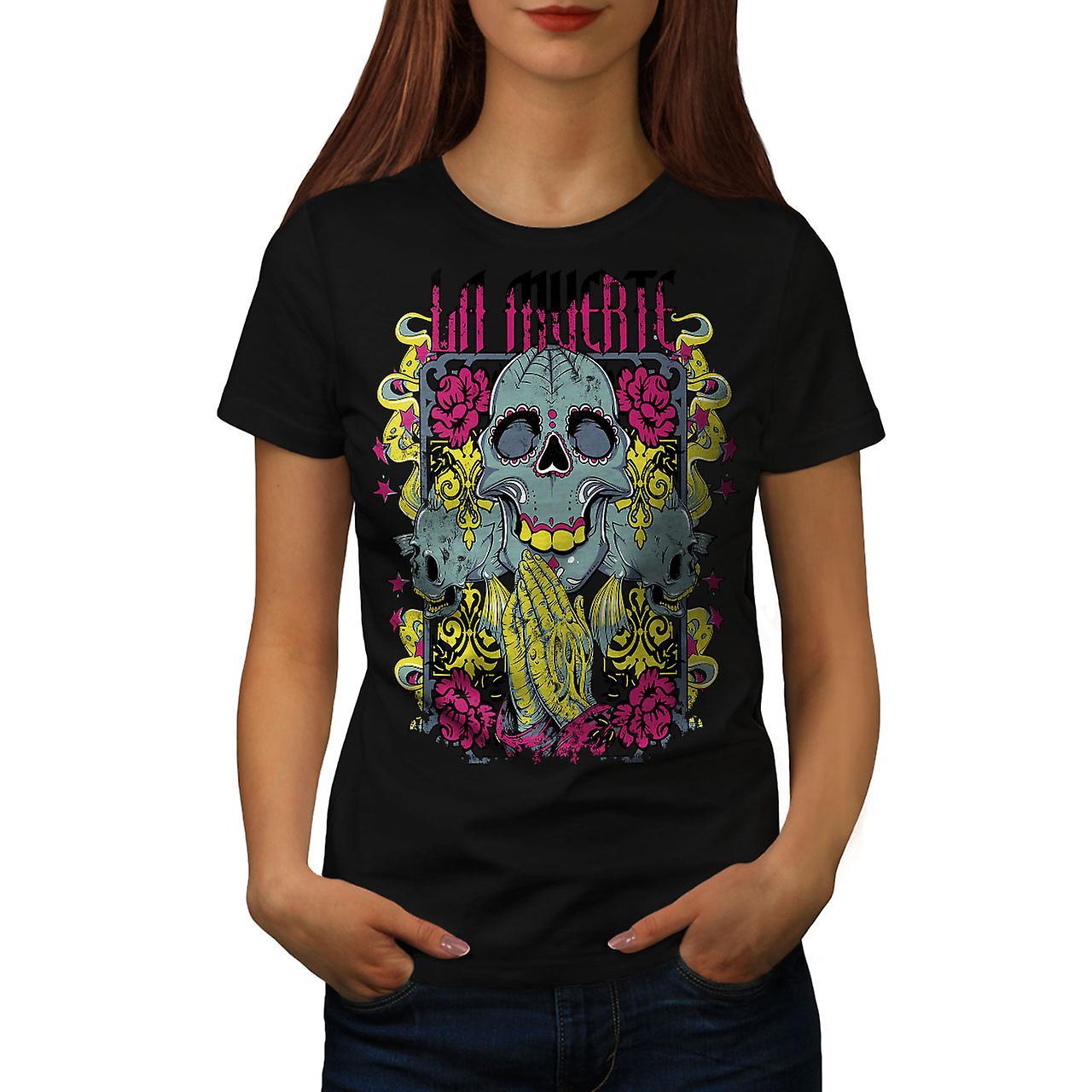 Muerte Rose Cool Skull Women Black T-shirt | Wellcoda