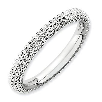 2.5mm Sterling Silver Stackable Expressions Rhodium-plated Domed Ring - Ring Size: 5 to 10
