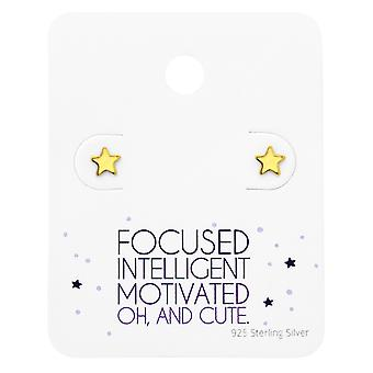 Star  Ear Studs On Cute Card - 925 Sterling Silver Sets