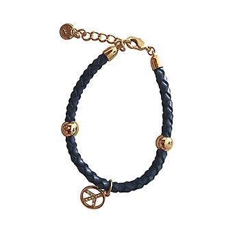 Braided Leather Bracelet With Silver Pendant As0063