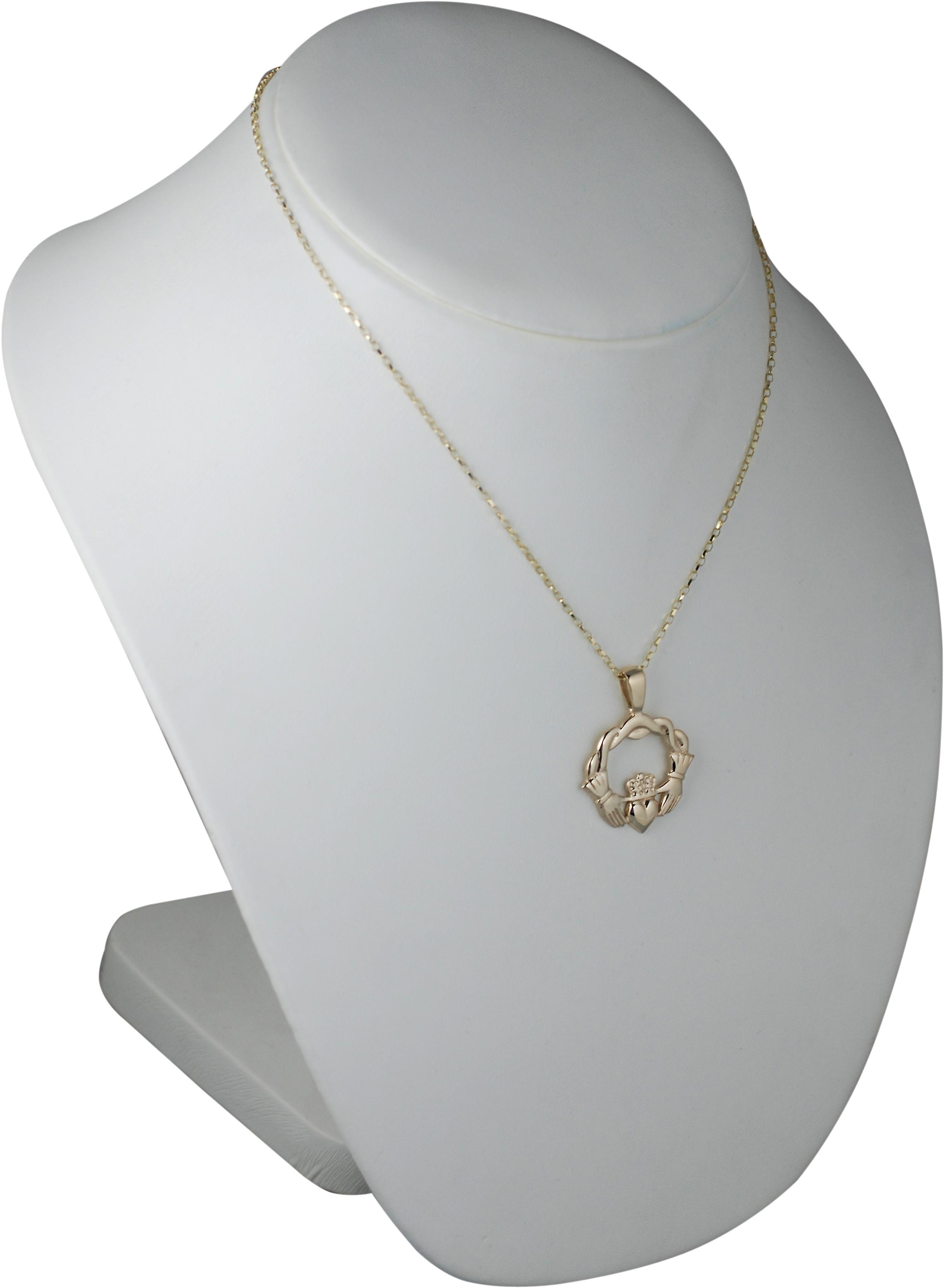 9ct Gold 27x30mm twisted cord top Claddagh Pendant with belcher Chain 18 inches