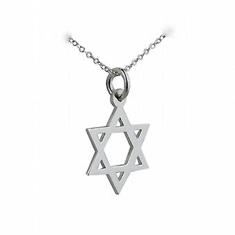 Silver 17x17mm plain Star of David Pendant with a rolo Chain 14 inches Only Suitable for Children
