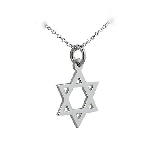 Silver 17x17mm plain Star of David Pendant with a rolo Chain 16 inches Only Suitable for Children