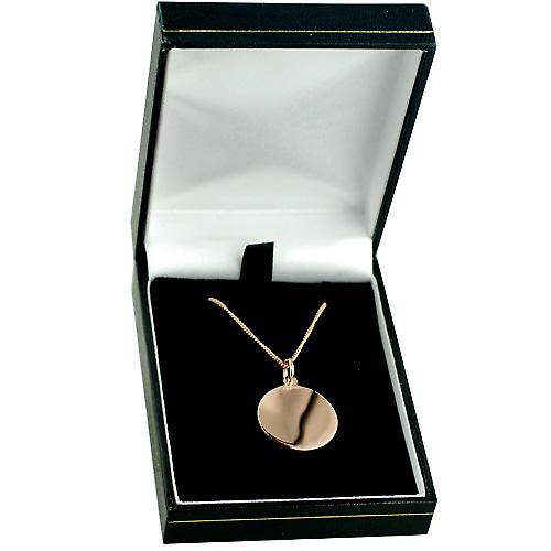 9ct Rose Gold 20mm round St Christopher Pendant with a curb Chain 18 inches