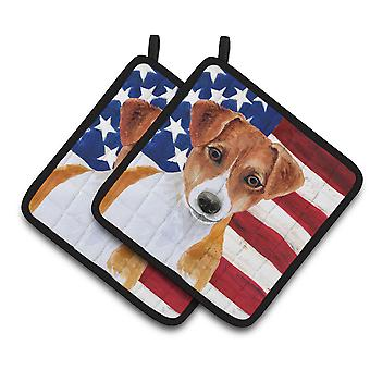 Jack Russell Terrier Patriotic Pair of Pot Holders