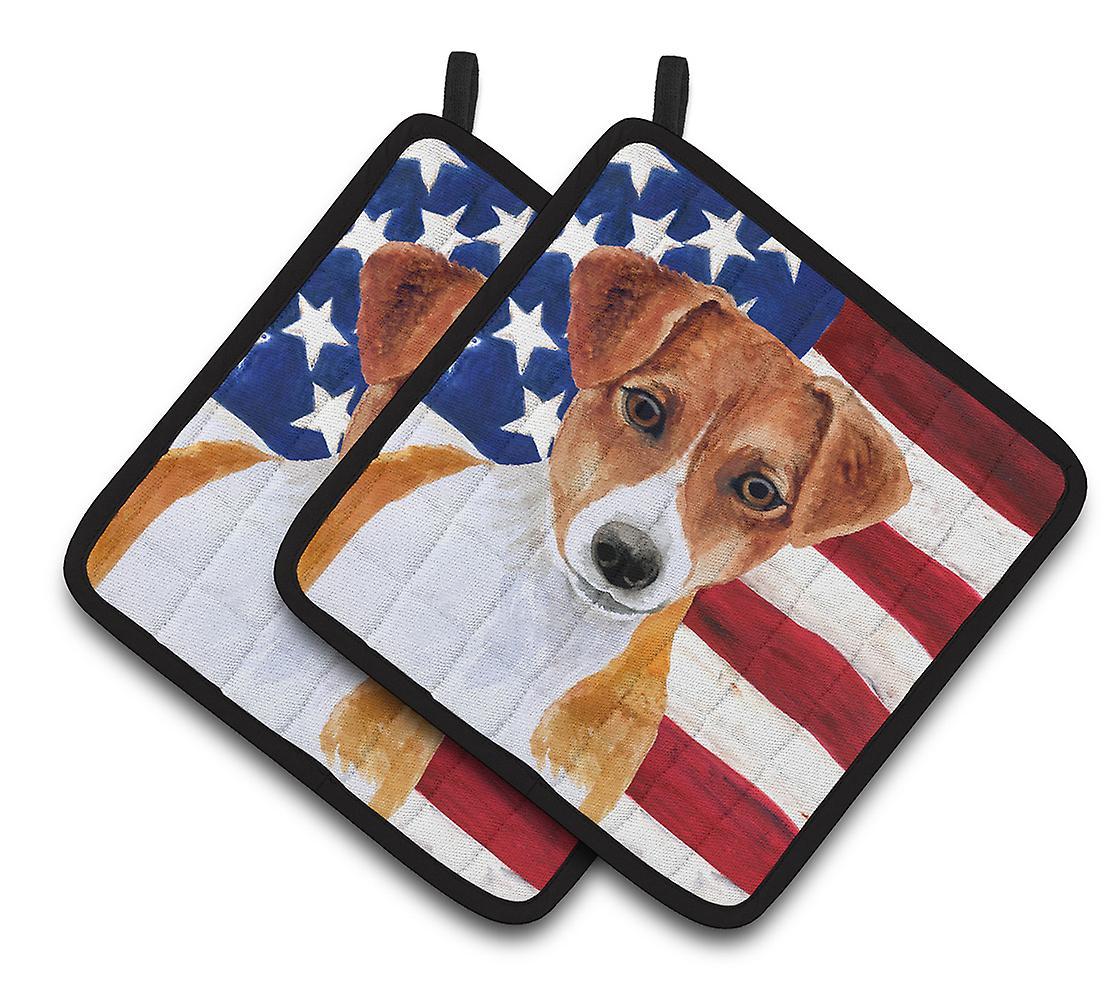 Jack Russell Terrier patriótico par de agarraderas