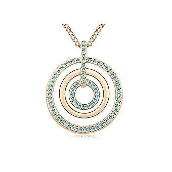 Sautoir Circles Halskette geschmückt mit blauen Swarovski-Kristallen und Gelbgold Platte