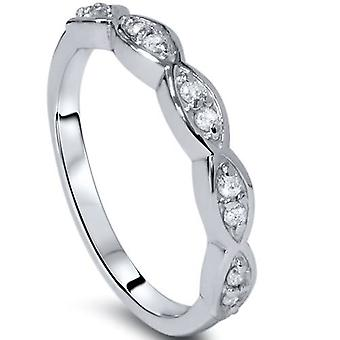 1 / 4ct diamant Vintage empilable Ring 14K or blanc