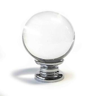 Clear Crystal Cut Spherical Glass Knob (M)