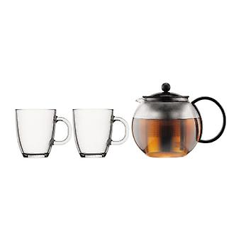 BODUM Assam - Tea Pot Press - med 2 Bistro glas krus opvaskemaskine - glas