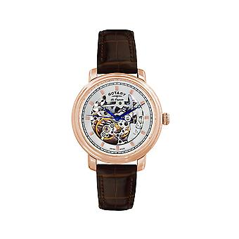 Rotary Jura Rose Gold Plated Men's Skeleton Watch