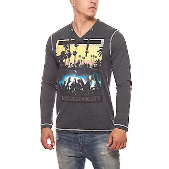 Long sleeve mens pullover GLO-STORY gray