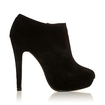 H20 Black Faux Suede Stilleto Very High Heel Ankle Shoe Boots