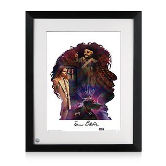 Tom Baker Signed And Framed Dr Who Silhouette Poster