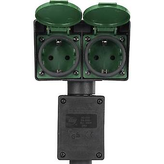 Renkforce 1168610 Weatherproof socket strip 2x Black, Green