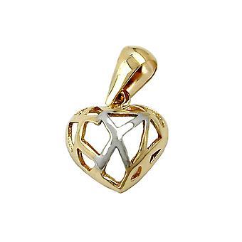 Mini hjärta hängen guld 375 hänge hjärta krossat 9 KT guld,