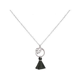 Ladies - necklace - pendant - 925 Silver - grape leaves - tassel - grey - YOGA - 45 cm