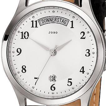 JOBO Мужские наручные часы кварцевые аналоговые нержавеющей стали кожаный ремешок черного Мужская Смотреть Дата