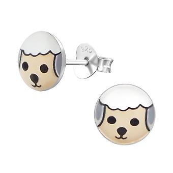Sheep - 925 Sterling Silver Colourful Ear Studs - W19719x