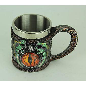 Red Dragon Eye Celtic Carvings Mug with Stainless Steel Liner